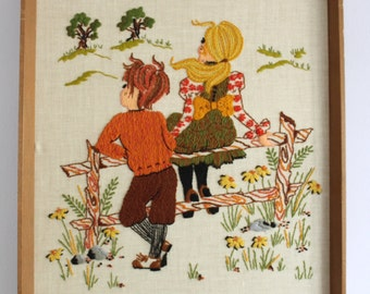 Boy + Girl in a Flower Field Crewl Embroidered Framed Wall Hanging
