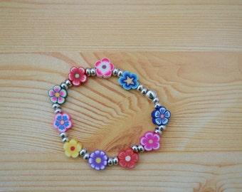 Girls bracelet, children bracelet, kids bracelet,flowers bracelet,rainbow bracelet,beaded bracelet,kids jewelry,girl jewelry,polymer clay