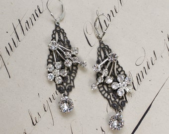 Gates to my heart- Victorian Style Antique Silver Rhinestone Earrings- Black wrought iron style ornate filigree with vintage flower design