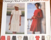 Simplicity 9349 Design Your Own Drop Waist Dress, Womens Misses Vintage Sewing Pattern Size 8 10 12 Bust 31 32 34 Uncut Factory Folds