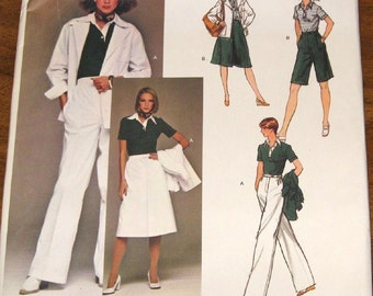 Vogue 1440 Calvin Klein Polo Shirt Jacket Skirt Pants Shorts Womens Misses Vintage 1970s Sewing Pattern Size 10 Bust 32 Uncut Factory Folds