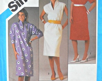 Simplicity 6448, Misses Pullover Dress Pattern, Size 12, Vintage 1984