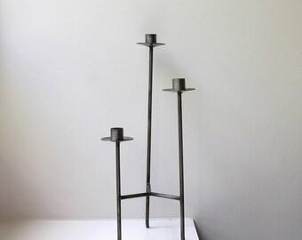 Industrial Modern Steel Candle Holder Candelabra Modernist 1960's