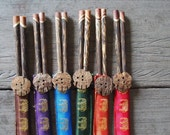 Gift Set of 6 Pairs Palm Wood Chopsticks with Colorful Elephant Spotted Silk Cover Case