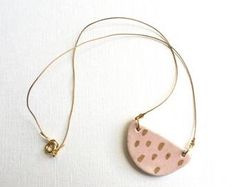 PINK GRAPEFRUIT slice ceramic pendant necklace