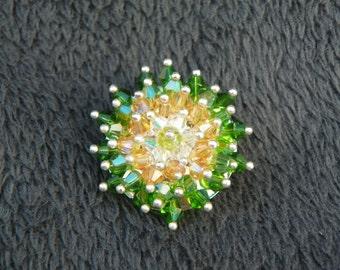 St Patricks Day Brooch crystal brooch St Patricks Day Pin crystal pin green & gold brooch green and gold pin Swarovski Crystal Brooch