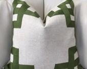 Greek Key Pillow Cover, Geometric Pillow, 20X20, Oatmeal - Green Color