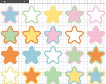 Pastel Stars Clipart Commercial Use, Pastel Clip Art, Baby Shower Graphics, Digital Clip Art