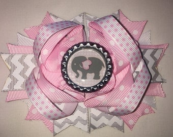 """Elephant Chevron gray pink Hair Bow Grossgrain Loopy Boutique Handmade girls 4 1/2 """" 24M 2T 3 t 4 t 5 6 7 8 10 12"""