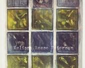 Glass Blocks, Windows, Photography Print, 5x7 + More Sizes, Vintage, Fan, Yellow Green, Purple Blue, Rustic, Shabby, Urban Decor, Wall Art