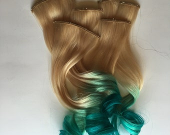 Teal Green and Blonde Ombre Hair Fade Dip Dye Tape or Clip in Human Hair Extensions Set Double Layered