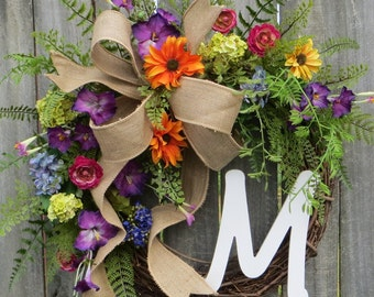 Wreath, Spring / Summer Wreath, Monogram Wreath, Burlap Wreath, Spring Monogram Wreath, Bright Colors Wreath with Bow, Designer Wreath