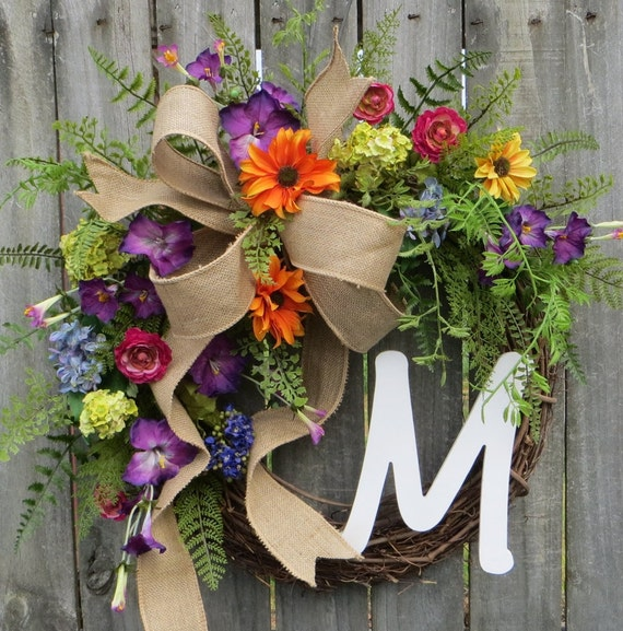 Wreath, Spring / Summer Wreath, Monogram Wreath, Burlap Wreath, Spring Monogram Wreath, Bright Colors Wreath with Bow, Designer Wreath