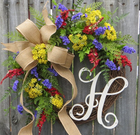 Wildflower Fields Wreath, Wreath for Spring and Summer, Purple Yellow Red, Burlap Bow Wreath, Wreath with Monogram, Wall Decor