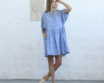 Oversized Casual Mini Dress, Light Blue
