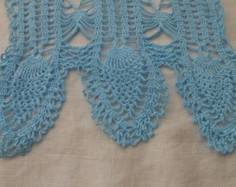 Vintage Crocheted Hand-Dyed Aqua Pineapple Chair Arm Cover
