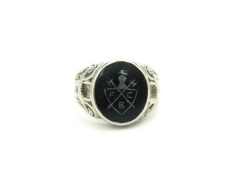 Fraternal Signet Ring. 10K White Gold. Knights of Pythias. Black Onyx. Engraved Shield FCB. Antique 1900s Mens Victorian Jewelry. Size 11.25