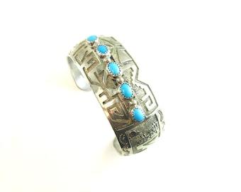 Native American Bracelet. Turquoise & Sterling Silver Overlay Cuff.  Vintage Signed Hopi Jewelry. Pueblo Pottery Southwestern Scene, 1.23 oz