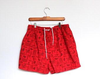Swimming Trunks Mens Large 30 32 33 Vintage Bathing Suit Swim Red Black Sailing Sail Boat Boating Regatta Nautical Cotton