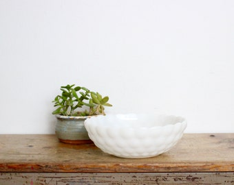"Milk Glass Bowl Dish Modern Decor Mid Century MCM Vintage White Bubbles Textured 8.25"" 8"" Scalloped"
