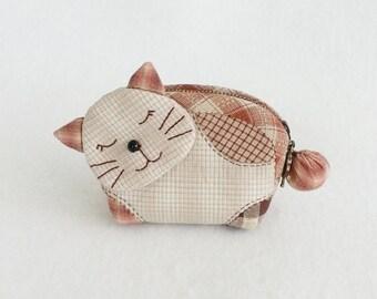 Lovely Kitten Zipper Quilted  Purse, Small Coin Purse, Zipper Purse