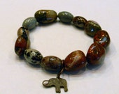 Spiritual Bracelet,  Paint Brush Jasper Bracelet,Elephant Bracelet, Unisex Bracelet, African Bloodstone Bracelet, Chakra Bracelet