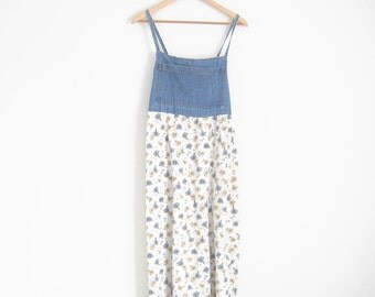 Vintage 90s Floral Dress. Floral Denim Dress with Spaghetti Straps. Chambray Denim Dress. 90s Grunge Dress. Empire Waist Maxi Dress.