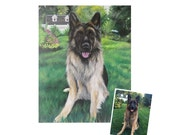 16x20 painting from photo custom pet portrait on canvas hand painted dog cat for pet lovers german shepherd