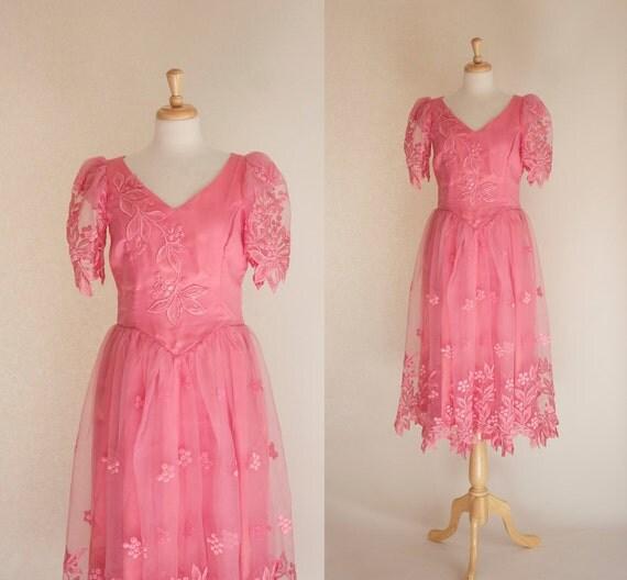 70s dress 70s prom dress 80s prom dress pink prom dress