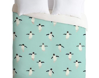 Penguins Parade baby blue duvet cover, unique cartoon penguins kids bedroom apartment home decor, cute watercolor penguins boys room bedding
