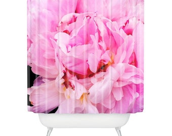 Pretty floral pink peony shower curtain, shabby chic flower décor, unique bathroom accessories, botanical decor eco living guest bathroom