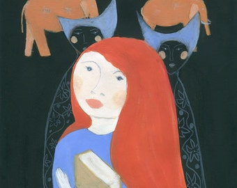 What if - surreal painting giclee print redhead girl holding book wall art elephants dark wall decor for book lover imagination fairy tale