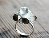 Floral Pods Ring, One of a Kind Cast Silver Ring