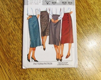 1980's WIGGLE Skirt / High Waisted Pencil Skirt / Long Slim Skirt - Size (12 - 14 - 16) - UNCUT Vintage Sewing Pattern Style 4115