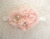 Flower Girl Headband, Hair Clip  Blush Sash, Matching to Flower Girl Basket Set Hand Dyed Blush flowers  Other colors too