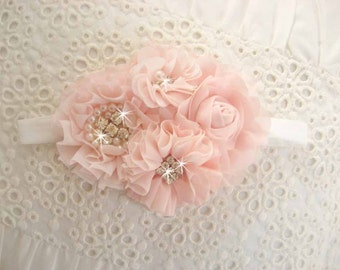 Flower Girl Headband, Hair Clip  Blush Sash, Corsage, Matching to Flower Girl Basket Set Hand Dyed Blush flowers  Other colors too