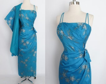 Vintage 50's 60's Blue Hawaiian Sarong Dress Evening Gown Matching Wrap Shawl L