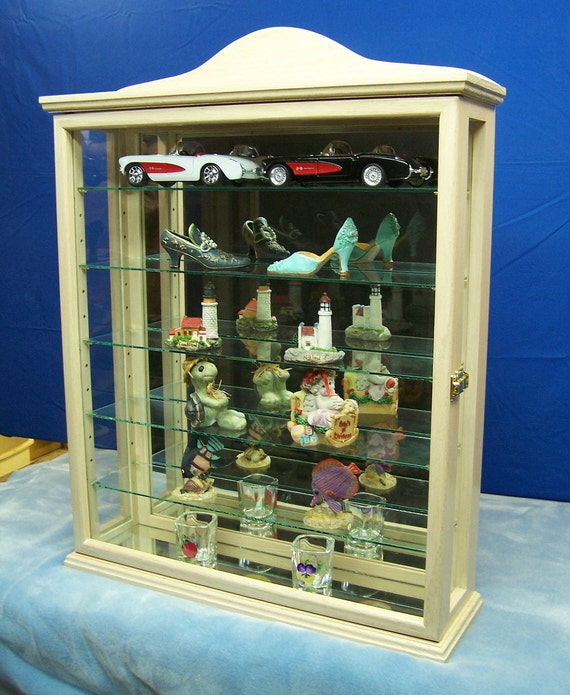Antique White Wall or Tabletop Curio Cabinet Display