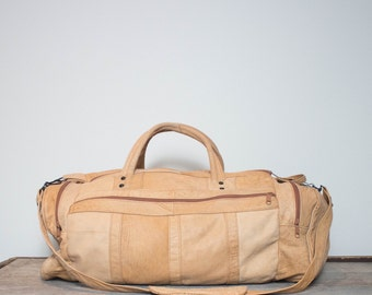Vintage Tan Leather Duffle Bag Carry All Travel Bag