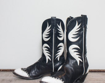 6.5 B | Women's Black & White Inlay and Bucklace Wingtip Western Boots by Tony Lama