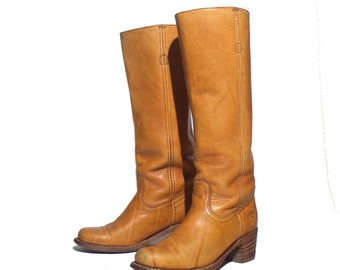 8.5 B | Women's Frye Campus Boots Stacked Heel Honey Brown Leather Ranch Boot