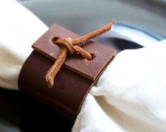 Napkin Rings leather, Set of 6