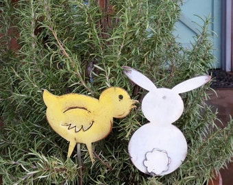 Bunny and Chick Metal Garden Stake Pair