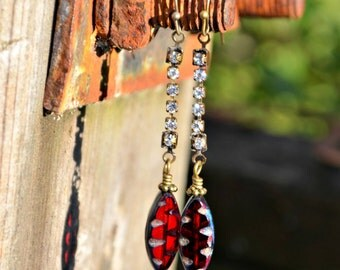 Rhinestone Earrings with Red Glass Beads and Brass accents long rhinestone dangle earrings with red Czech glass beads handmade gift