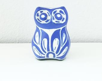 Vintage Blue and White Ceramic Owl Figurine by Pablo Zabal