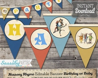 Nursery Rhyme Party Banner - INSTANT DOWNLOAD - Editable & Printable Birthday Bunting Decorations, Decor, Bunting by Sassaby Parties