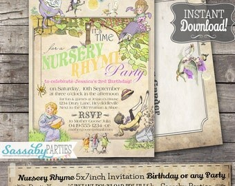 Nursery Rhyme Pastel Invitation - INSTANT DOWNLOAD - Editable & Printable Humpty Dumpty, Miss Muffet, Birthday Party Invite Sassaby Parties