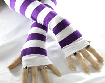 Arm Warmers Fingerless gloves armwarmers sleeves glove - Purple Dreams - white striped stripes yoga goth gothic lolita kawaii bohemian dance