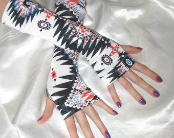 White Armwarmers Navajo spiritual traveler vagabond black cotton knit gypsy fusion dancing gauntlets belly dance renaissance medieval native