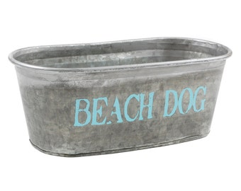 CLEARANCE! Beach Dog Galvanized Tub - hand painted waterproof storage tub for your furry friend